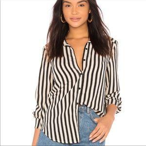 Amuse Society Black White Stripe Button Down Top M